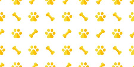 dog bone seamless pattern dog paw vector footprint tile repeat background scarf wallpaper isolated