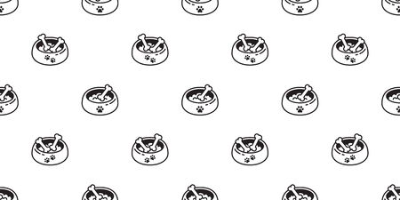 Dog bowl seamless pattern vector bone french bulldog cartoon scarf isolated repeat wallpaper tile background doodle