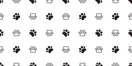 Dog Paw seamless vector footprint pattern kitten puppy tile background repeat wallpaper scarf isolated cartoon illustration doodle