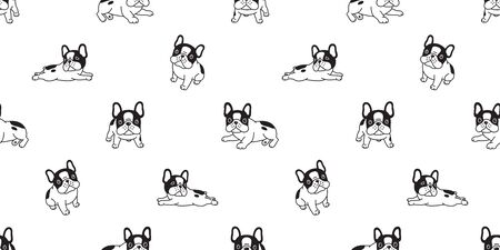 Dog seamless pattern french bulldog breed bone scarf isolated paw breed repeat wallpaper tile background illustration doodle black Stockfoto - 133834248