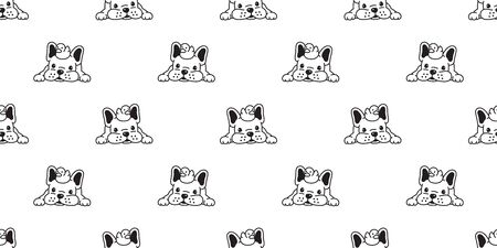 Dog seamless pattern french bulldog vector duck rubber scarf isolated repeat wallpaper tile background cartoon Stock Illustratie