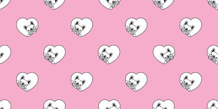 Dog seamless pattern french bulldog vector heart valentine scarf isolated repeat wallpaper tile background cartoon illustration pink