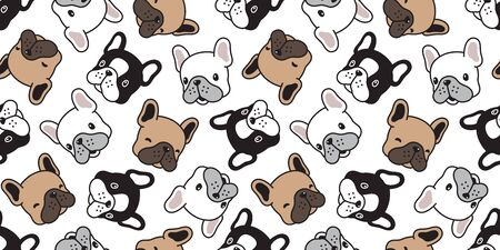 Dog seamless pattern french bulldog vector scarf isolated head puppy cartoon tile background repeat wallpaper illustration