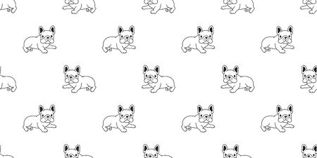 Dog seamless pattern french bulldog vector scarf isolated puppy cartoon illustration tile background repeat wallpaper doodle white Stock Illustratie