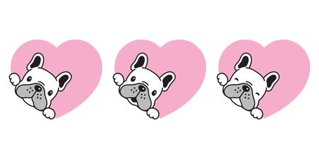 dog vector french bulldog heart icon valentine character cartoon puppy smile logo illustration doodle white
