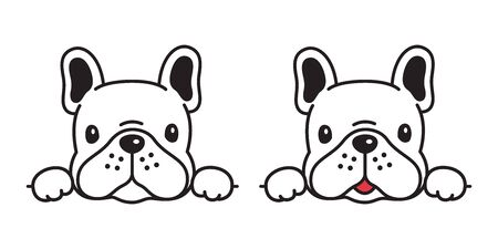 dog vector french bulldog icon character cartoon puppy smile logo symbol illustration doodle white Stock Illustratie
