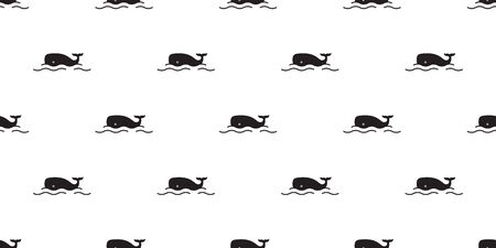 fish whale Seamless pattern vector shark dolphin salmon scarf isolated ocean sea cartoon repeat wallpaper tile background doodle illustration Illustration