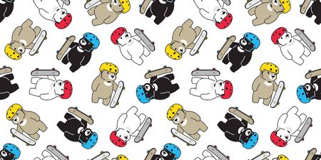 Bear seamless pattern skateboard vector polar bear skating helmet scarf isolated repeat wallpaper tile background cartoon illustration Stock Illustratie