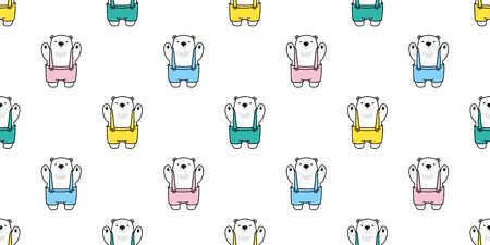 Bear seamless pattern vector polar bear bib overalls scarf isolated cartoon tile background repeat wallpaper illustration