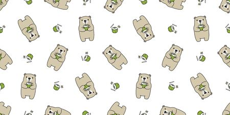 Bear seamless pattern vector polar bear coconut water tropical hawaii scarf isolated cartoon summer repeat wallpaper tile background doodle illustration