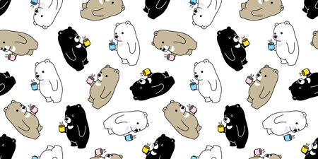 Bear seamless pattern vector polar bear coffee tea scarf isolated cartoon tile background repeat wallpaper illustration Stock Illustratie