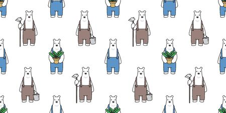 Bear seamless pattern vector polar bear farmer plant grow scarf isolated repeat wallpaper tile background cartoon illustration