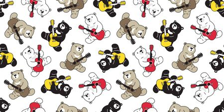 Bear seamless pattern vector polar bear guitar ukulele scarf isolated cartoon summer repeat wallpaper tile background illustration doodle