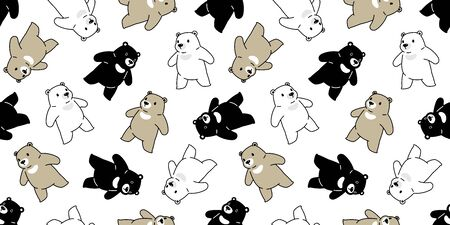Bear seamless pattern vector polar bear scarf isolated cartoon repeat wallpaper tile background doodle illustration Stock Illustratie