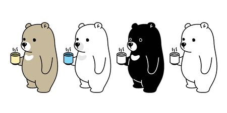 Bear vector Polar Bear coffee tea cartoon character icon logo illustration doodle symbol Stockfoto - 133834296
