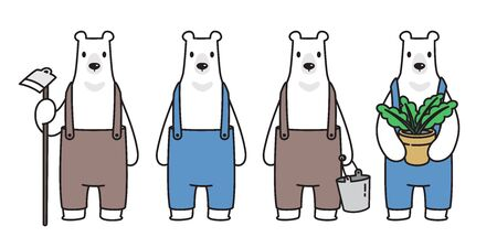 Bear vector Polar Bear farmer plant grow cartoon character icon logo illustration symbol doodle