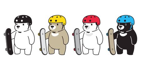 Bear vector polar bear skateboard skating helmet cartoon character icon logo illustration Stock Illustratie
