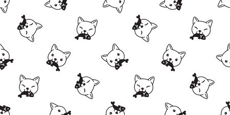 cat seamless pattern vector calico kitten isolated eating fish salmon tuna cartoon scarf repeat wallpaper tile background illustration doodle white