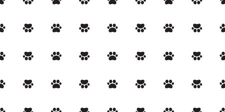 Dog Paw seamless pattern vector footprint cat tile background repeat wallpaper isolated cartoon illustration