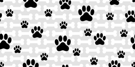 Dog Paw seamless pattern vector french bulldog bone footprint cartoon tile background repeat wallpaper scarf isolated illustration gift wrap