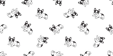 Dog seamless pattern french bulldog vector puppy scarf isolated cartoon repeat background tile wallpaper illustration