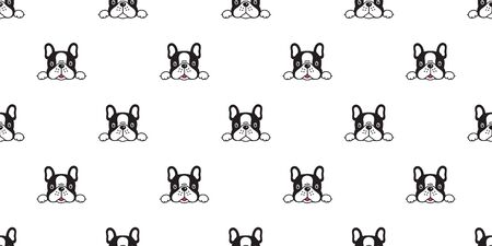 Dog seamless pattern french bulldog vector scarf isolated cartoon repeat tile wallpaper background illustration doodle black