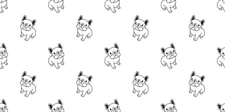 Dog seamless pattern french bulldog vector scarf isolated puppy sitting cartoon illustration tile background repeat wallpaper doodle white