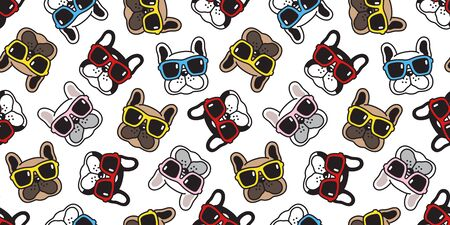 Dog seamless pattern french bulldog vector sunglasses face scarf isolated repeat wallpaper cartoon tile background doodle