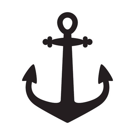 Anchor vector icon logo boat pirate helm maritime Nautical illustration symbol graphic simple