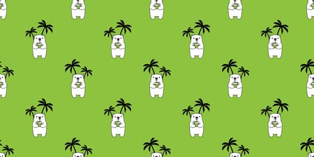 Bear seamless pattern vector polar bear coconut water palm tree tropical hawaii scarf isolated cartoon summer repeat wallpaper tile background doodle illustration