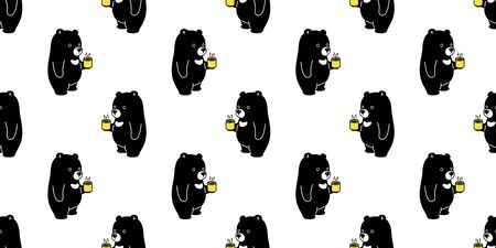 Bear seamless pattern vector polar bear coffee tea scarf isolated cartoon repeat wallpaper tile background illustration black Stock Illustratie