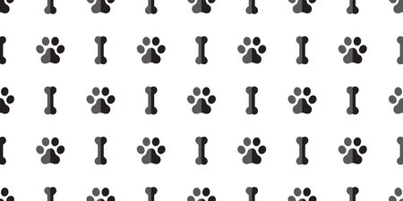dog bone seamless pattern dog paw vector tile repeat background scarf isolated wallpaper Stock Illustratie