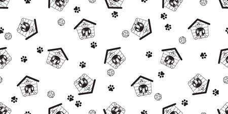 dog house seamless pattern vector french bulldog bone scarf isolated tile background repeat wallpaper illustration Stockfoto - 133834396