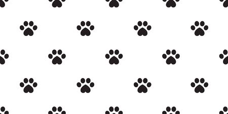 Dog Paw seamless vector footprint pattern heart valentine kitten puppy tile background repeat wallpaper isolated illustration