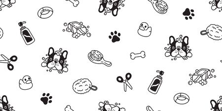 Dog seamless pattern french bulldog vector bath shower rubber duck scarf isolated cartoon repeat wallpaper tile background illustration white doodle