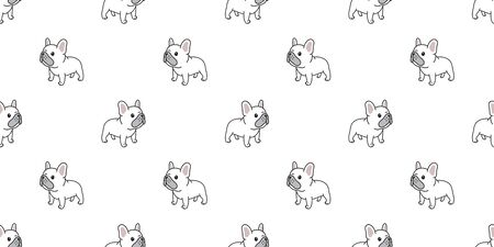 Dog seamless pattern french bulldog vector scarf isolated puppy cartoon illustration tile background repeat wallpaper white