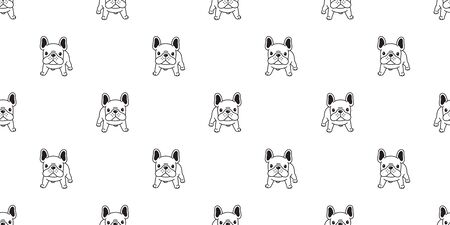 Dog seamless pattern french bulldog vector scarf isolated puppy cartoon illustration tile background repeat wallpaper
