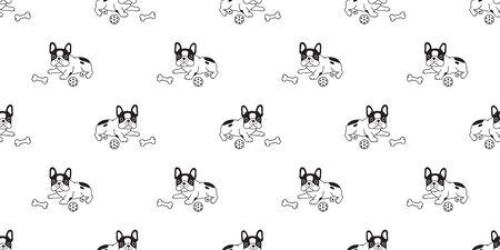 Dog seamless pattern french bulldog vector scarf isolated puppy cartoon repeat background tile wallpaper illustration Stock Illustratie