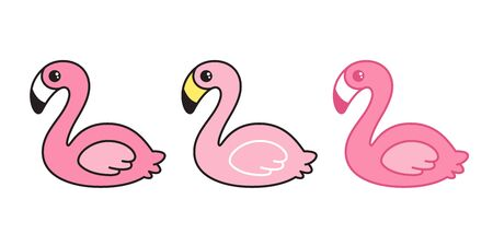 pink flamingo vector set Cartoon Cute flamingos collection character animal exotic nature wild fauna illustration Stock Illustratie