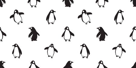 penguin Seamless pattern vector bird fish salmon cartoon scarf isolated tile background repeat wallpaper illustration doodle