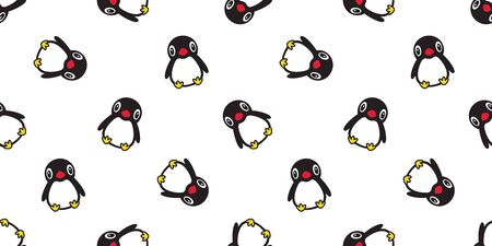 penguin Seamless pattern vector bird salmon fish cartoon scarf isolated tile background repeat wallpaper illustration doodle