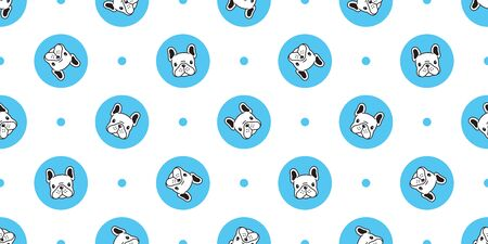 Dog seamless pattern french bulldog vector polka dot scarf isolated cartoon repeat wallpaper tile background blue