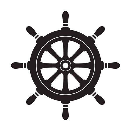 Pirata del logo dell'icona di vettore dell'ancora del timone Illustrazione della barca del mare dell'oceano marittimo nautico