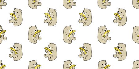 Bear seamless pattern polar bear vector fish salmon tuna cartoon repeat wallpaper scarf isolated tile background illustration brown