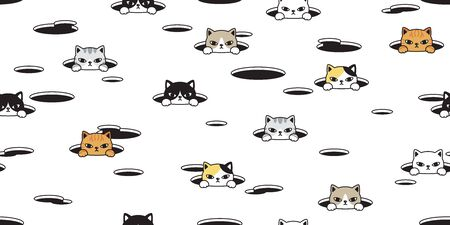 cat seamless pattern vector kitten calico hole pet repeat wallpaper scarf isolated tile background breed
