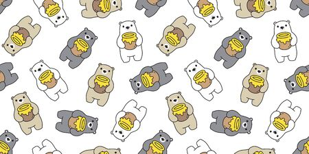 Bear seamless pattern polar bear vector honey cartoon repeat wallpaper scarf isolated tile background illustration