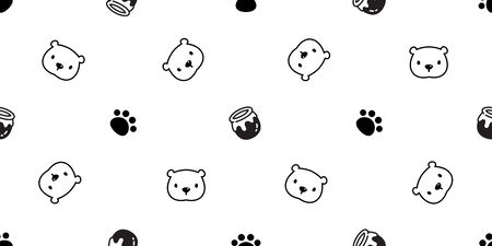 Bear seamless pattern polar bear vector honey paw cartoon tile background repeat wallpaper scarf isolated doodle illustration Çizim