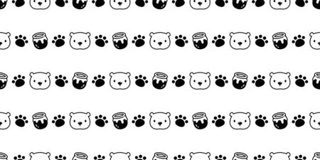 Bear seamless pattern polar bear vector honey paw cartoon tile background repeat wallpaper scarf isolated illustration