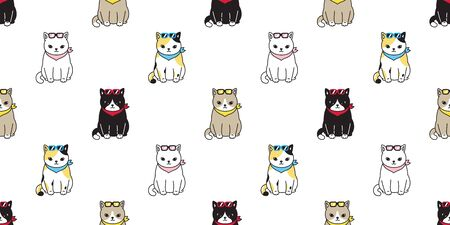 cat seamless pattern vector calico black kitten mouse rat pet repeat wallpaper cartoon tile background scarf isolated illustration