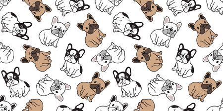 Dog seamless pattern french bulldog vector pet scarf isolated puppy tile background repeat wallpaper cartoon illustration